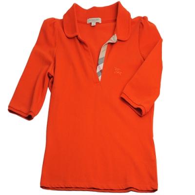 BURBERRY 戰馬刺繡LOGO格紋領口七分袖女POLO衫(橘/M號)