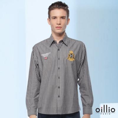 oillio歐洲貴族 長袖襯衫 細膩線條 特色圖標 黑色