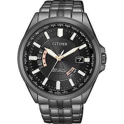 CITIZEN 星辰Eco-Drive五局電波計時腕錶-黑金CB0185-84E