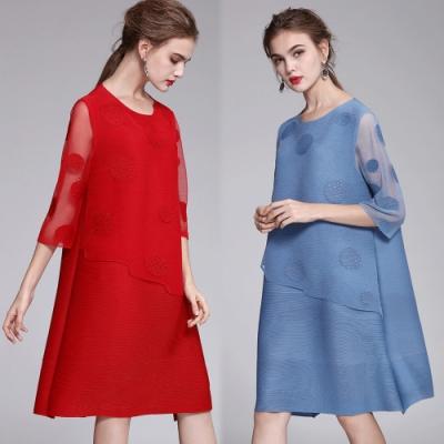 【韓國K.W.】圓點水溶蕾絲假二件式洋裝(兩色可選)