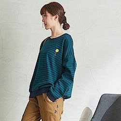 慢 生活 螺紋厚棉條紋長袖T-綠/咖