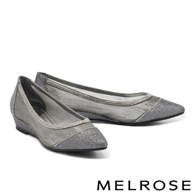 低跟鞋 MELROSE 迷人時尚晶鑽透膚網紗尖頭楔型低跟鞋-灰
