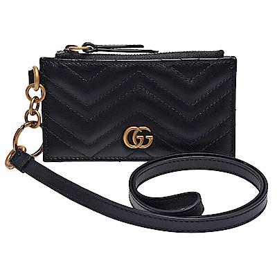 GUCCI 經典GG Marmont山形車紋小牛皮掛頸拉鍊卡夾/零錢包(黑)