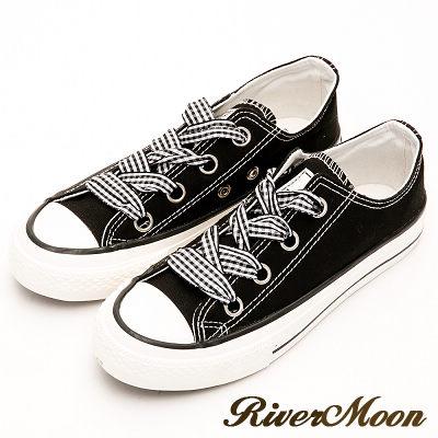 River&Moon韓版寬版緞帶帆布休閒鞋-黑