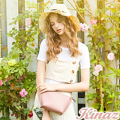 KINAZ 微風香氛鏈帶斜背包-柔美杏-常春藤系列