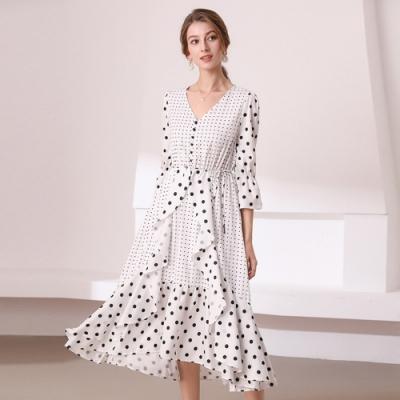 波點荷葉優雅白色洋裝S-XL-M2M