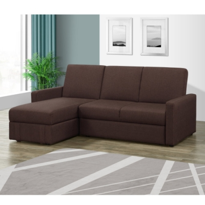 MUNA 凱尼L型咖啡色多功能收納布沙發/沙發床 188X165X83cm