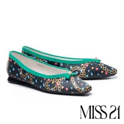低跟鞋 MISS 21 復古小清新波浪小滾邊方頭低跟鞋-藍