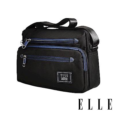 ELLE 城市都會休旅系列大容量多隔層機能收納休閒橫式斜背/側背包-黑色EL83493