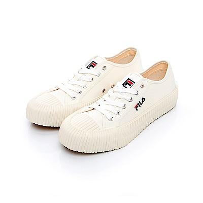 FILA 中性經典餅乾帆布鞋-米 4-C320T-111