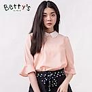 betty's貝蒂思 縷空花朵設計領珍珠七分袖上衣(淺粉)