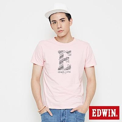 EDWIN 海浪紋E字印花短袖T恤-男-淺粉紅
