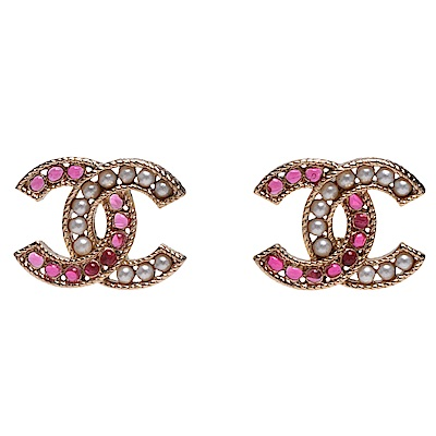 CHANEL 經典CC LOGO粉色珠珠/珍珠鑲飾造型穿式耳環(粉X金)