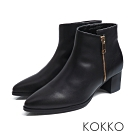 KOKKO - 戀戀冬日牛皮側拉鍊尖頭中跟短靴 - 墨黑