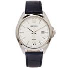 SEIKO 文青風格的皮革錶帶手錶(SUR283P1)-銀面X黑色/42mm