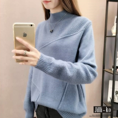 JILLI-KO 半高領插肩壓紋針織毛上衣- 藍/磚紅/紫/黑
