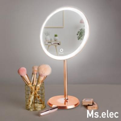 Ms.elec米嬉樂 古銅LED環燈鏡 化妝鏡燈 USB充電 圓鏡