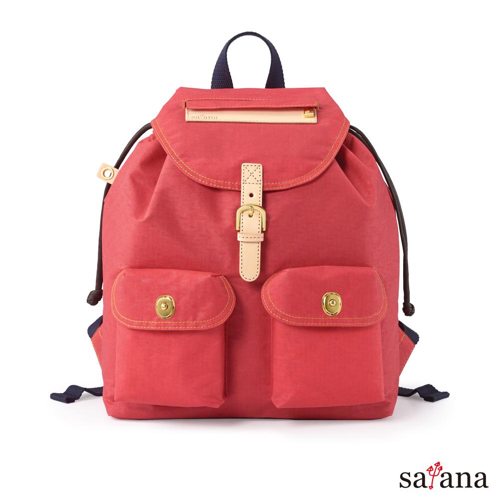satana - Soldier 小休閒束口後背包 - 洛可可紅