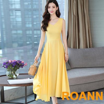 波西米亞風V領無袖長款洋裝 (黃色)-ROANN