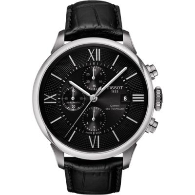 TISSOT 杜魯爾系列機械計時手錶-黑/44mm