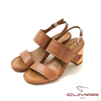 CUMAR普羅旺斯莊園- 復古撞色兩截式一字帶粗跟涼拖鞋-淺棕色