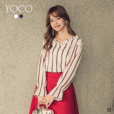 YOCO浪漫柔美雙色條紋荷葉領上衣-S.M.L