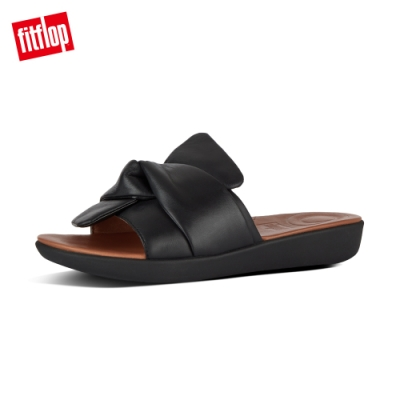 FitFlop SOLA BOWY LEATHER SLIDES 黑色