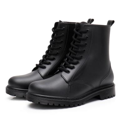 韓國KW美鞋館 獨具個性晴雨二用雨靴馬丁靴-黑