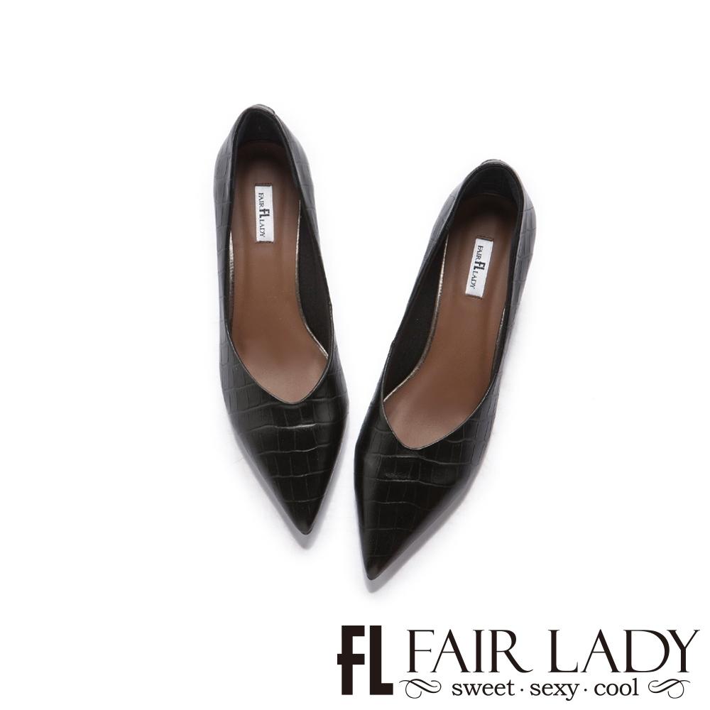 FAIR LADY 優雅小姐尖頭簡約壓紋V口粗跟鞋 黑