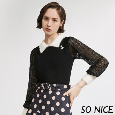 SO NICE甜美毛絨領蕾絲針織上衣