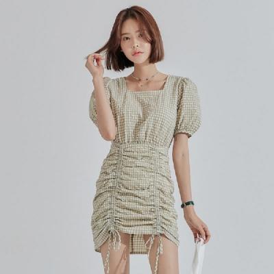 連身裙 方領抽摺泡泡短袖洋裝RE5176-創翊韓都