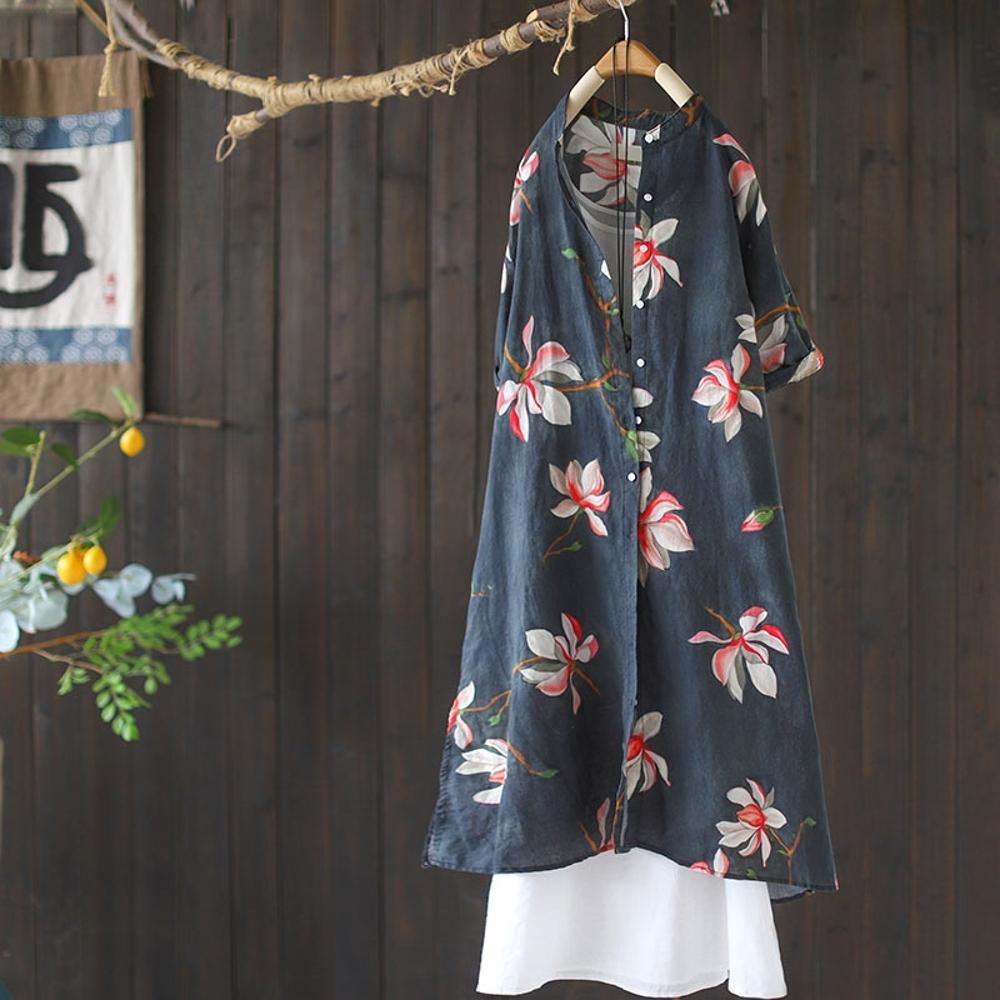 復古苧麻印花襯衫裙洋氣中長版短袖洋裝-設計所在