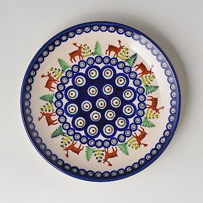 波蘭陶手工製 歡樂聖誕 淺底圓形餐盤19cm
