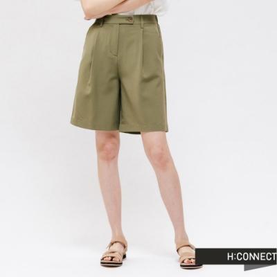 H:CONNECT 韓國品牌 女裝 -素面腰鬆緊打摺短褲 - 綠