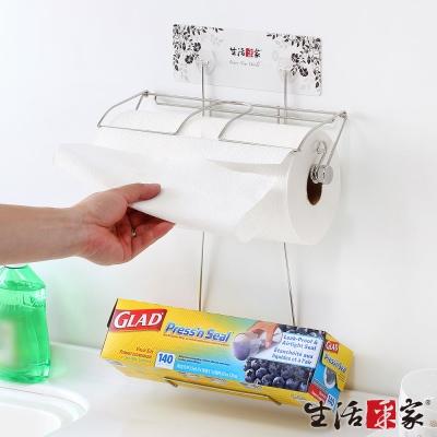 生活采家樂貼系列台灣製304不鏽鋼廚房加大款捲筒紙巾架保鮮膜架