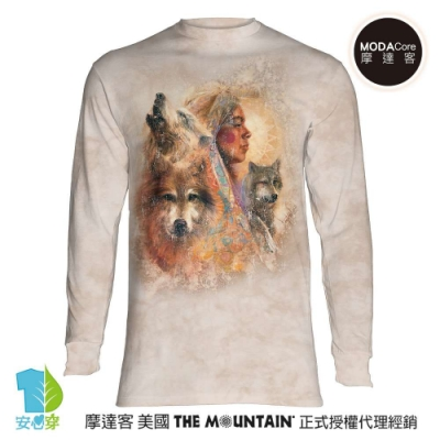摩達客 預購 美國The Mountain 印第安女神與狼 純棉長袖T恤