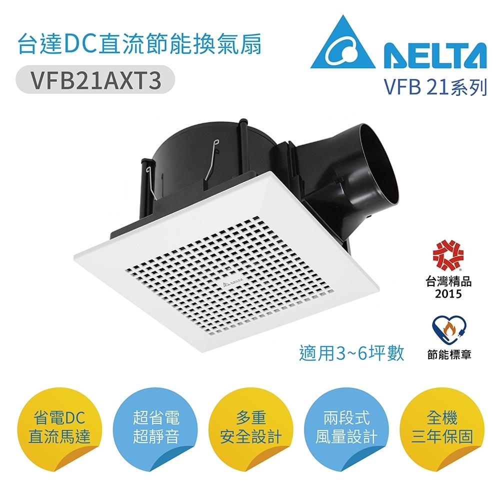 台達電子 VFB21AXT3 DC直流換氣扇  超省電超靜音 台灣製造 不含安裝