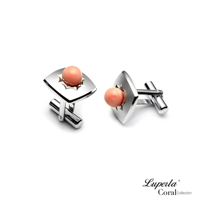 大東山珠寶 自我宣言 仕紳系列 天然粉珊瑚 西裝領徽 袖扣