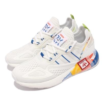 adidas 休閒鞋 ZX 2K BOOST 運動 男女鞋 太空計畫設計靈感 襪套 避震 情侶款 白 彩 GX2718