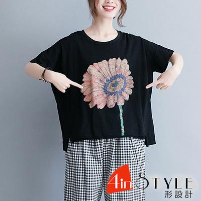 圓領太陽花圖案短袖T恤 (黑色)-4inSTYLE形設計