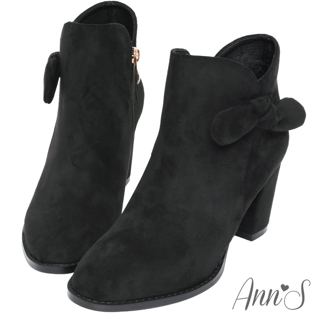 Ann'S可愛蝴蝶結-防水絨布側邊V口顯瘦粗跟短靴-黑(版型偏小)