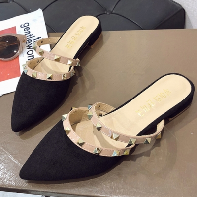 KEITH-WILL時尚鞋館 超有型雙色耀眼尖頭穆勒鞋 黑