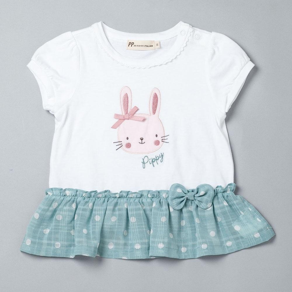 PIPPY 害羞小兔小蓬袖上衣 白