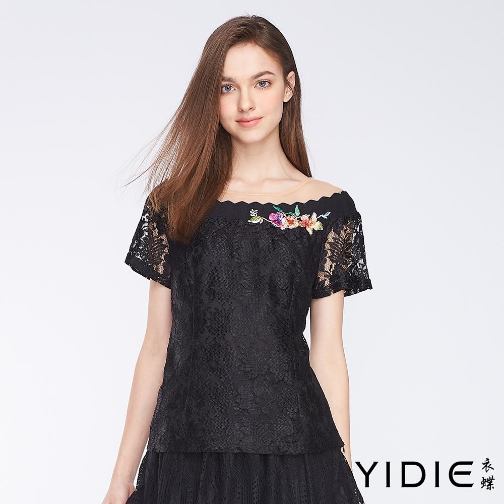 YIDIE衣蝶 雕花蕾絲造型短袖上衣-黑