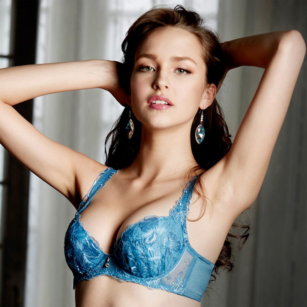 莎露-玻璃鞋系列B-C 罩杯內衣(藍)奢華蕾絲-深V包覆-集中美胸