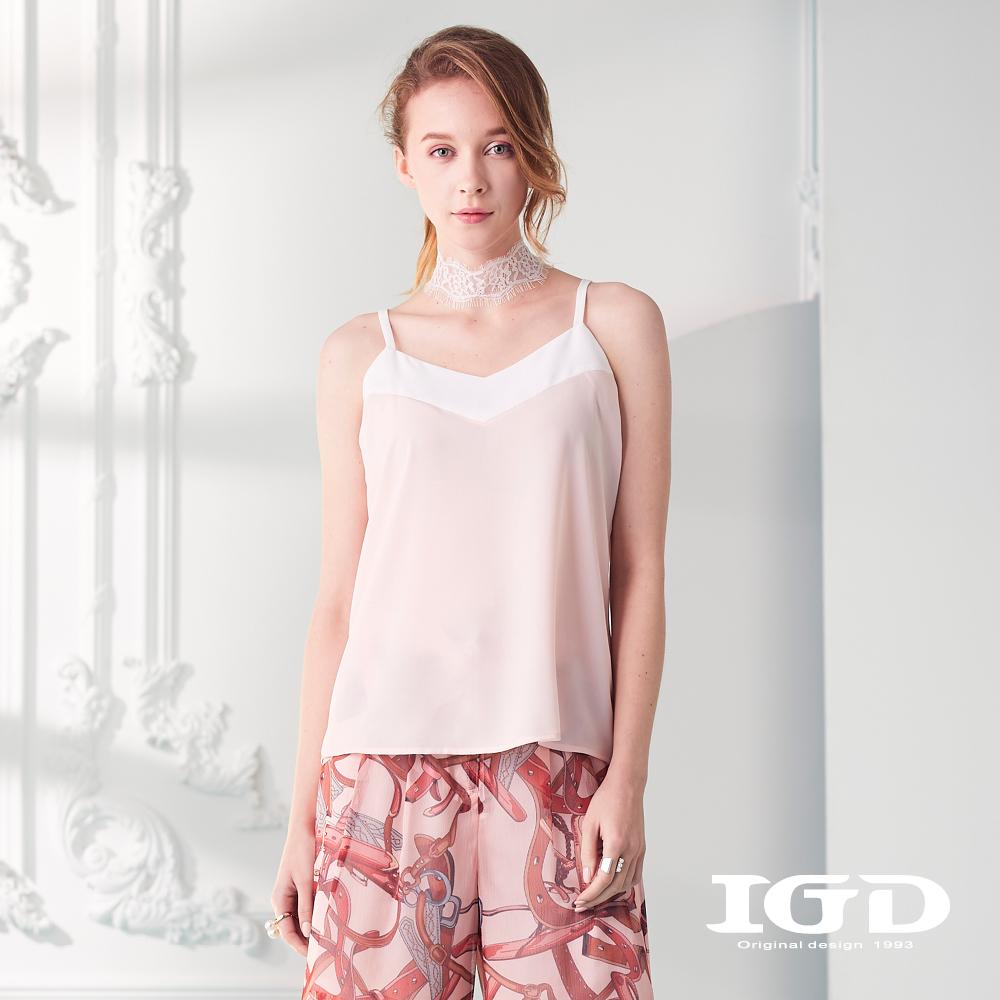IGD英格麗 細肩帶拼接背心-粉色