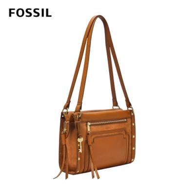 FOSSIL Allie 個性鉚釘手提肩側背包-焦糖色 ZB7898239