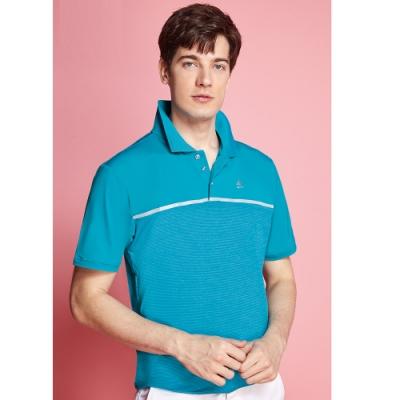Spar細橫條紋彈性男版短袖POLO衫S208217彩藍色