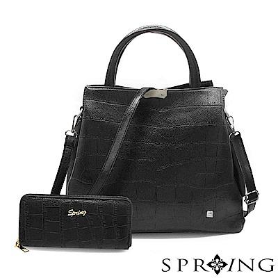 SPRING-2件組-優雅幸福鱷魚紋托特方包/長夾-名媛黑
