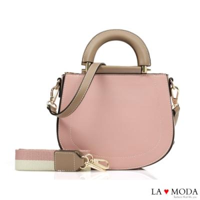 La Moda 精品質感多背法撞色設計感肩背手提包(粉)